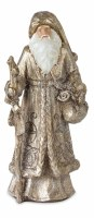 """12"""" Antique Silver and Gold Resin Santa With a Staff"""