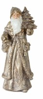 """12"""" Antique Silver and Gold Resin Santa Holding a Tree"""