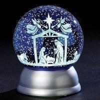 "6"" LED Holy Family Night Sky Swirl Globe"
