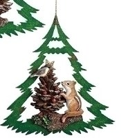 """6"""" Green Wood Open Tree With Polyresin Chipmunk Ornament"""