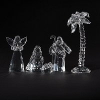 """Set of 5 3"""" Clear Acrylic Nativity With Palm Tree and Angel"""