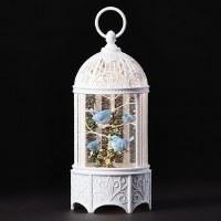 "10"" LED Glitter Swirl Bluebirds Cage Lantern"