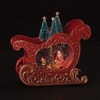 """8"""" LED Red Sleigh With Santa and Elves in Swirling Snow"""