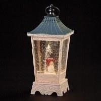 "11"" LED Snowman Swirl Faux Wood Lantern"