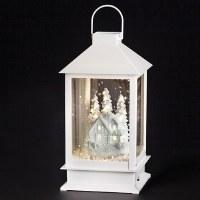 """14"""" LED White Snow Blow Village Lantern"""