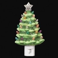 """7"""" Green Ceramic Vintage Tree Night Light With Color Bulbs"""