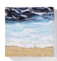 """12"""" Square Waves on the Beach With Dark Sky Canvas Wall Art"""