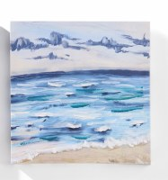 """12"""" Square Waves on the Beach With Light Sky Canvas Wall Art"""