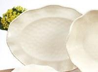 """18"""" Oval Cream Perlette Scalloped Edge Platter"""