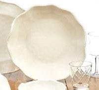 "14"" Round Cream Perlette Scalloped Edge Serving Bowl"