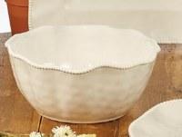 "11"" Round Cream Perlette Scalloped Edge Deep Bowl"