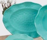 """18"""" Oval Teal Perlette Scalloped Edge Platter"""