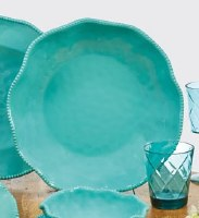 """14"""" Round Teal Perlette Scalloped Edge Serving Bowl"""