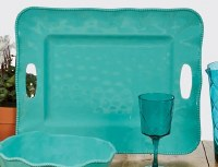 """15"""" x 19"""" Teal Perlette Scalloped Edge Tray With Handles"""
