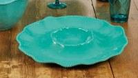 "15"" Round Teal Perlette Scalloped Edge Chip & Dip Bowl"