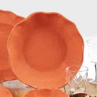 """14"""" Round Coral Perlette Scalloped Edge Serving Bowl"""