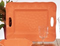 """15"""" x 19"""" Coral Perlette Scalloped Edge Tray With Handles"""