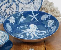 """14"""" Round Blue Oceanic Serving Bowl"""