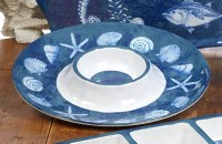 """15"""" Round Blue and White Oceanic Chip & Dip Bowl"""