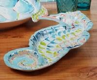 "19"" Multi Pastels Seahorse Shaped Chip & Dip Bowl"