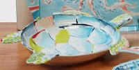 "20"" Multi Pastels Turtle Shaped Serving Bowl"