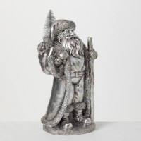 """13"""" Silver Polyresin Santa With Sack of Gifts Figurine"""