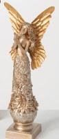 "16"" Silver Gold Metallic Polyresin Angel Holding a Bird"