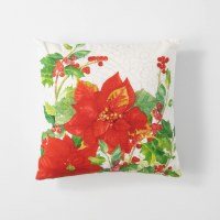 """18"""" Square White With Red Poinsettias Pillow"""