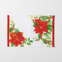 """13"""" x 19"""" White With Red Poinsettias Fabric Placemat"""