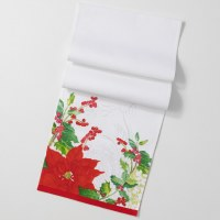 """14"""" x 71"""" White With Red Poinsettia Table Runner"""
