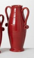 "16"" Red Ceramic Two Handled Vase"