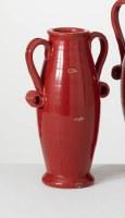 "13"" Red Ceramic Two Handled Vase"