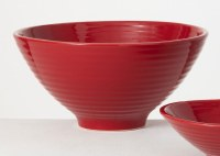 "14"" Round Red Ceramic Fluted Bowl"