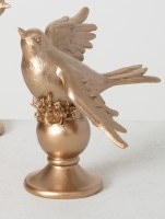 """7"""" Champagne Gold Polyresin Bird With Wings Down"""