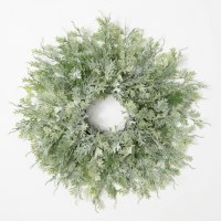 """24"""" Round Faux Frosted Fern Wreath"""