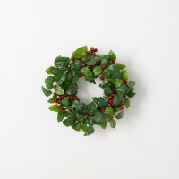 """6.5"""" Opening Faux Red Berry Leaf Candle Ring"""