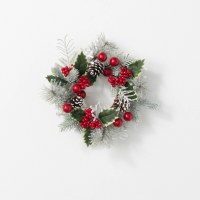 """4.5"""" Opening Faux Flocked Red Berry and Pinecone Pine Candle Ring"""