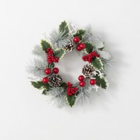 """6.5"""" Opening Faux Flocked Red Berry and Pinecone Pine Candle Ring"""