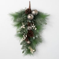 """28"""" Faux White Berry and Silver Bells Pinecone Pine Drop"""