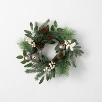 """6.5"""" Opening Faux White Berry and Silver Bells Pinecone Pine Candle Ring"""