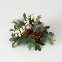 """6"""" Faux White Berry and Silver Bells Pinecone Pine Orb"""