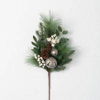 """28"""" Faux White Berry and Silver Bells Pinecone Pine Spray"""