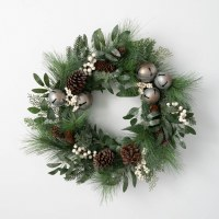 """24"""" Round Faux White Berry and Siver Bells Pinecone Pine Wreath"""
