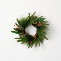 """6.5"""" Opening Faux Red Berry and Pinecone Pine Candle Ring"""