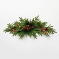 """45"""" Faux Red Berry and Pinecone Pine Swag"""