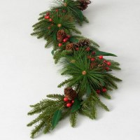 """48"""" Faux Red Berry and Pinecone Pine Garland"""