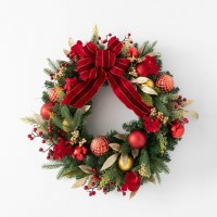 """26"""" Round Faux Red and Gold Ornaments Pine Wreath With Bows and Berries"""