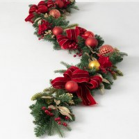 """72"""" Faux Red and Gold Ornaments Pine Garland With Bows and Berries"""