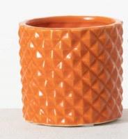 """3"""" Orange Ceramic Textured Pot"""
