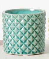 """3"""" Turquoise Ceramic Textured Pot"""